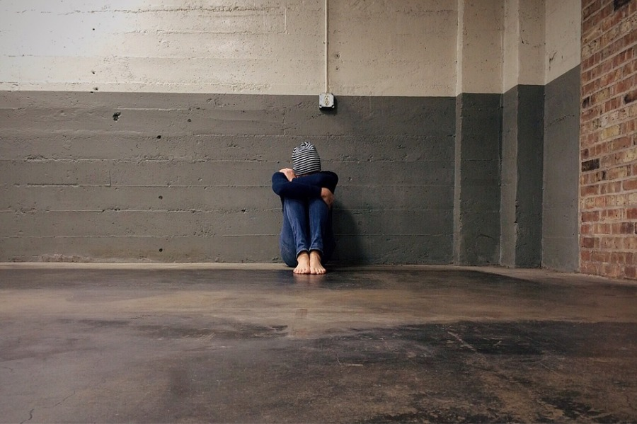 Male Sadness Homeless Person Bullied Alone Hiding