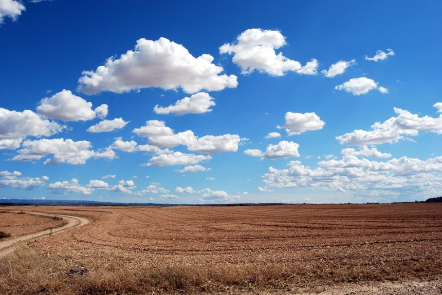 Horizon Sky Clouds Field Earth Plowing Cloudy