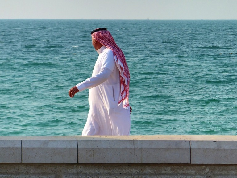 Man Arab Male Muslim Seashore Clothing Walk