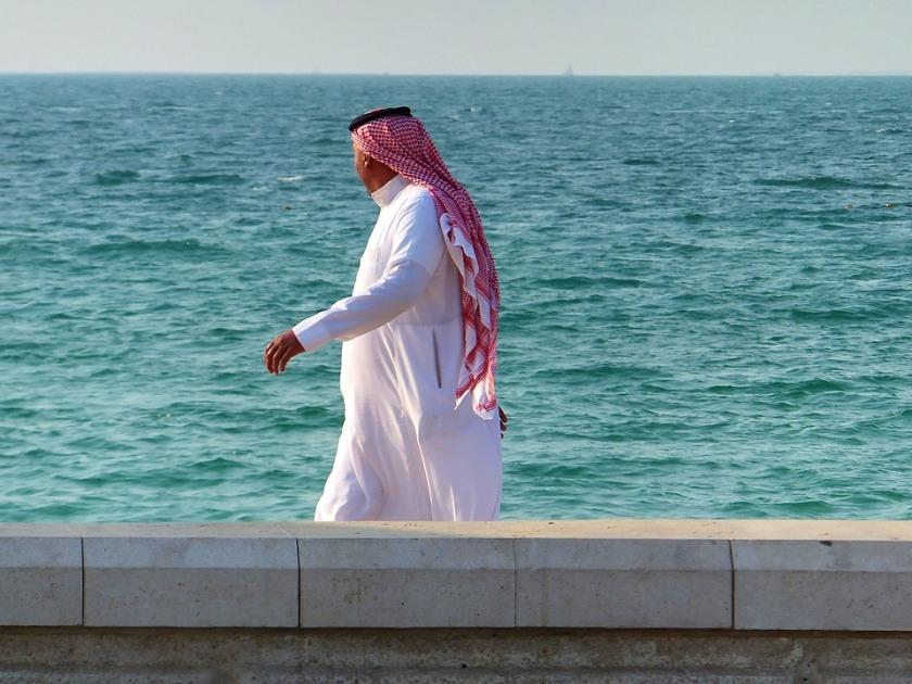 Man Arab Male Muslim Seashore Clothing Walk