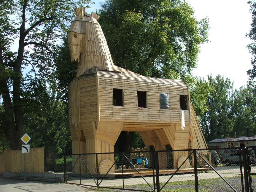 Trojan horse at Cisarsky ostrov, Prague