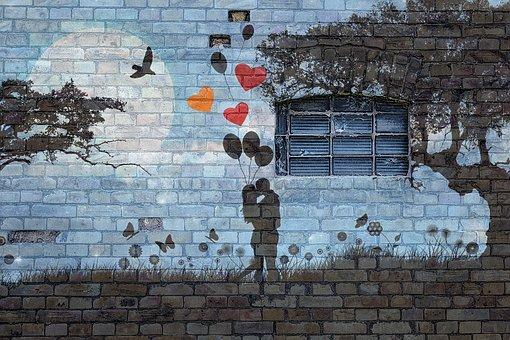 Love Wall Window Balloons Grafitti Couple Brick