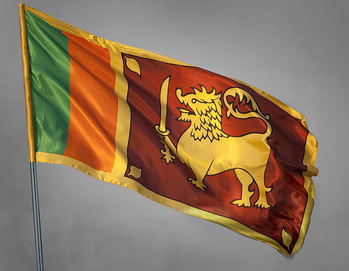 Fluttering Sri Lankan flag